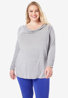 Ruched Drape Tee, HEATHER GREY