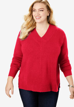 Soft Luxe V-Neck Sweater, VIVID RED