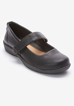 The Carla Mary Jane Flat by Comfortview®, BLACK