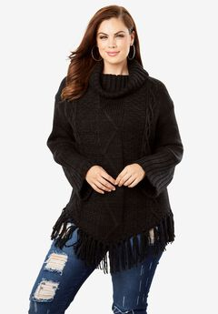 Cowlneck Cableknit Sweater with Fringe Hem,