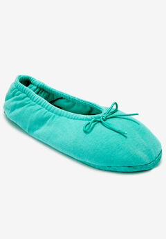The Ana Ballerina Slipper by Comfortview®, GREEN TURQUOISE
