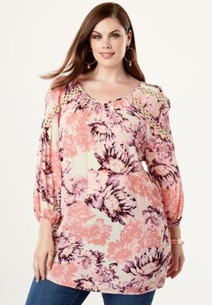 Embellished Crinkle Top, PINK WATERCOLOR BLOOM