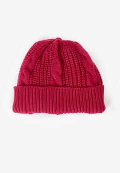 Cable Knit Beanie, CLASSIC RED