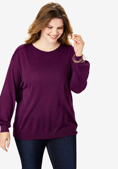 Fine Gauge Cross-Back Sweater, DARK BERRY