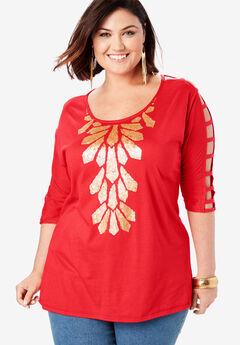 Embellished Lattice Sleeve Top, HOT RED