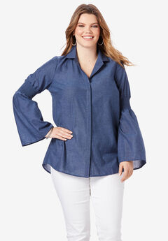 Bell-Sleeve Chambray Shirt,