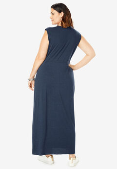 f139c5ee986 Side-Knot Maxi Dress with High-Low Hem. Roaman s