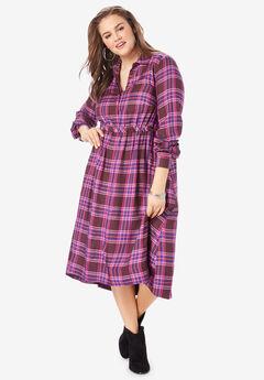 Swing Shirtdress with High-Low Hem, BERRY CLASSIC PLAID (YARN-DYE)