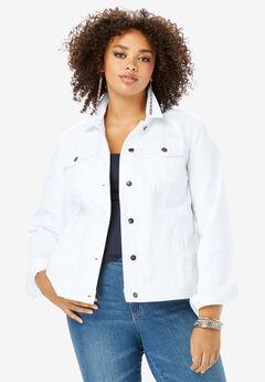Essential Denim Jacket, WHITE