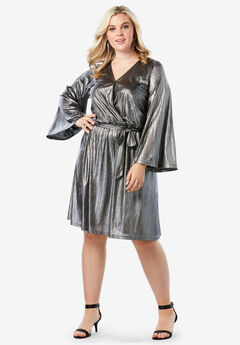 Metallic Faux Wrap Dress with Bell Sleeves, GUNMETAL