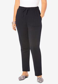 Straight-Leg French Terry Pant with Drawstring, BLACK