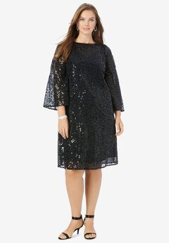 Beaded Dress with Bell Sleeves, BLACK
