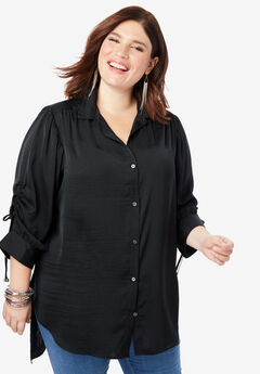 The Tie-Sleeve Tunic with High-Low Hem, BLACK