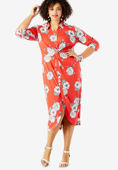 Stretch Knot-Front Shirtdress with Button Front, RED TONAL FLORAL