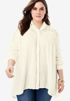 Crinkle Lace Tunic with Button-Front,