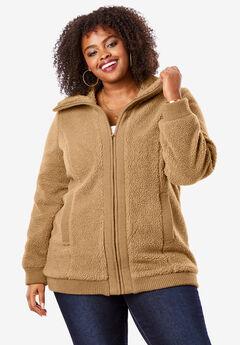 Textured Fleece Bomber Coat, CAMEL