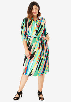 Belted Shirtdress with Pockets, MULTI GEO PRINT