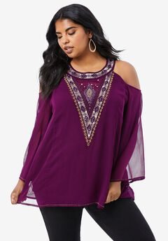Beaded Cold-Shoulder Tunic,