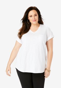 V-Neck Boyfriend Slub Tunic,