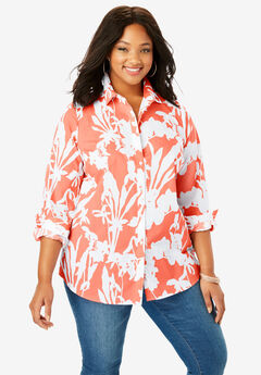 Long-Sleeve Kate Bigshirt, CORAL WHITE FLORAL