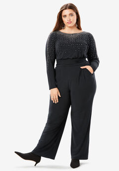 Embellished Wide-Leg Jumpsuit with Pockets,