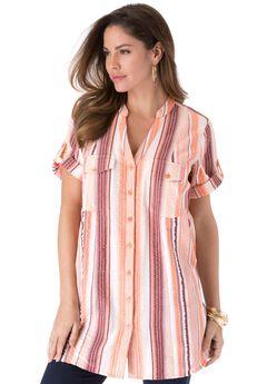 Seersucker Shirt with Tab Sleeves,