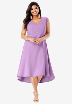 Ultimate Ponte Fit & Flare Dress with High-Low Hem, AMETHYST