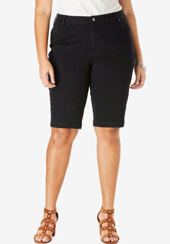 Bermuda Shorts with Invisible Stretch® Waistband by Denim 24/7®, BLACK DENIM