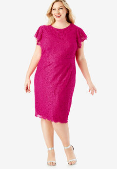 Lace Sheath Dress with Flutter Sleeves, VIVID PINK