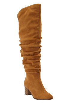 The Carmine Wide Calf Boot by Comfortview®, BROWN MAPLE