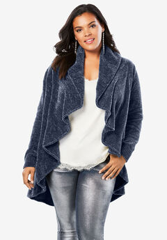 Draped Chenille Cardigan,