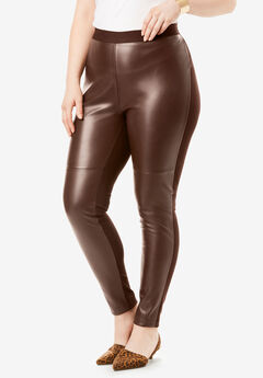 Faux-Leather Legging, RICH BROWN
