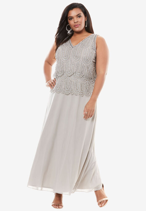 Scallop Beaded Dress by Pisarro Nights| Plus Size Casual ...