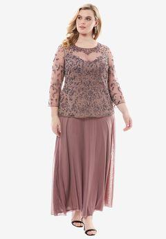 Beaded Bodice Illusion Dress by Pisarro Nights,