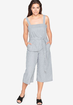 Cropped Stripe Jumpsuit by Castaluna, WHITE NAVY STRIPE