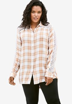 Lace Plaid Big Shirt,