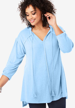 V-Neck Peasant Tunic with High-Low Hem,