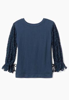 Lace-Sleeve Sweatshirt with Ribbon Ties,