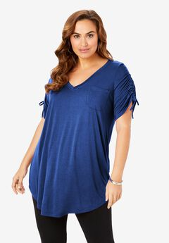 Ruched-Sleeve Boyfriend Tunic, TRUE BLUE