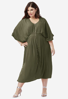 Crinkle Button-Front Dress with Kimono Sleeves, DARK OLIVE GREEN