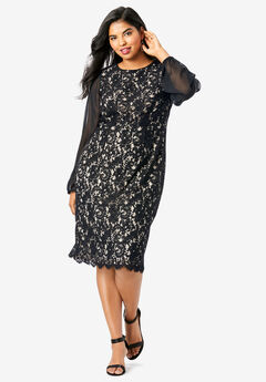 Sheer-Sleeve Lace Dress, BLACK
