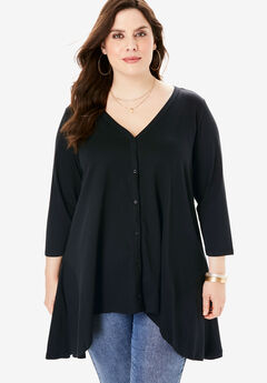 Button-Front Ultimate Tunic, BLACK