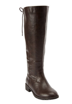 Charleston Wide Calf Boot by Comfortview®, DARK BROWN