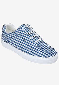 The Bungee Sneaker by Comfortview®, NAVY GINGHAM