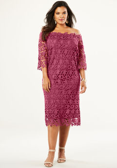 Off -The-Shoulder Lace Dress,