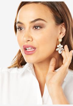 Rhinestone & Pearl Flower Earrings,