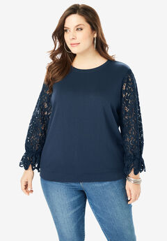 Lace-Sleeve Sweatshirt with Ribbon Ties,