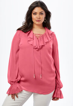 Ruffle Lace-Up Top.,