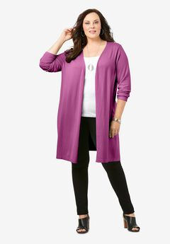 Convertible Tie-Front Cardigan, PRETTY ORCHID