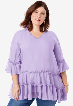Tiered Ruffle Tunic with Bell Sleeves,